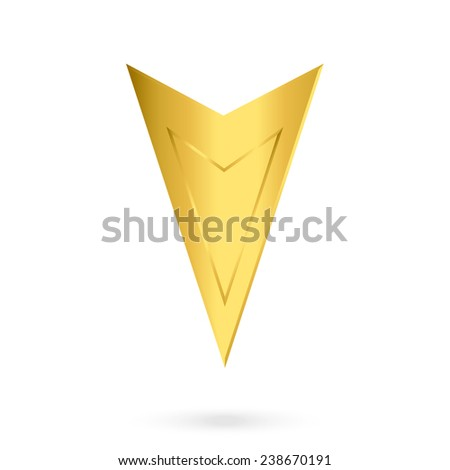 Vector icons or logo. Gold markers to map isolated on white background. - stock vector