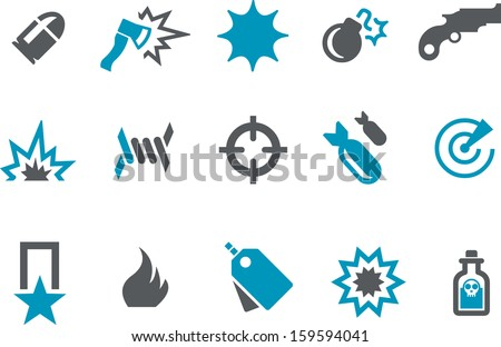 Vector icons pack - Blue Series, army collection  - stock vector