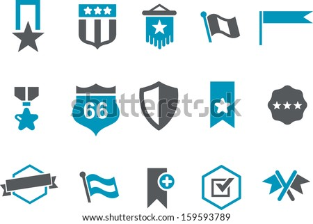 Vector icons pack - Blue Series, badges collection  - stock vector