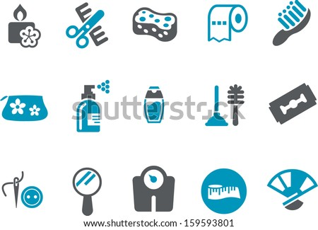 Vector icons pack - Blue Series, bathroom collection  - stock vector