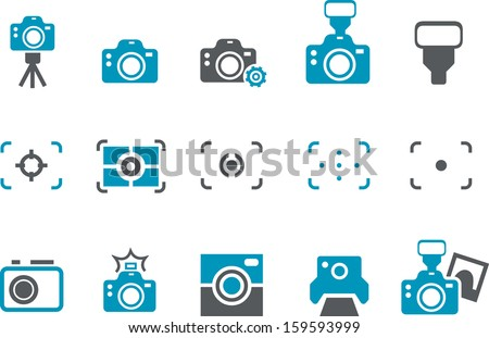 Vector icons pack - Blue Series, cameras collection  - stock vector