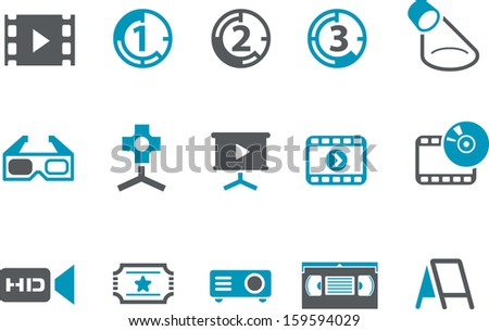 Vector icons pack - Blue Series, cinema collection  - stock vector
