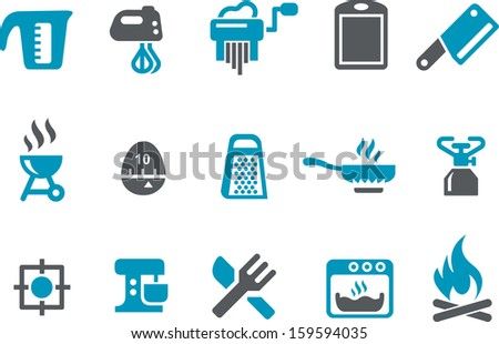 Vector icons pack - Blue Series, cooking collection  - stock vector