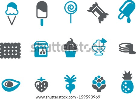 Vector icons pack - Blue Series, eating collection