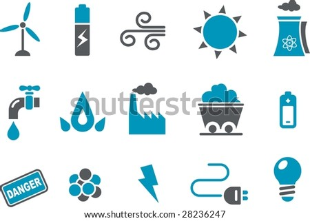 Vector icons pack - Blue Series, energy collection - stock vector