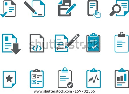 Vector icons pack - Blue Series, office docs collection  - stock vector