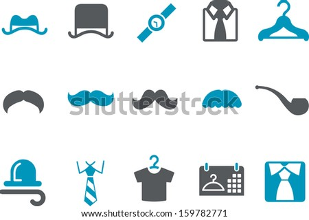 Vector icons pack - Blue Series, outfit-man collection  - stock vector