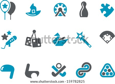 Vector icons pack - Blue Series, play collection  - stock vector