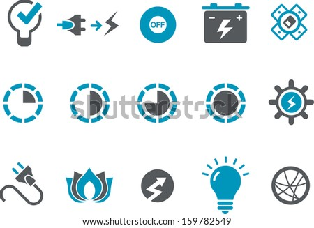Vector icons pack - Blue Series, power collection  - stock vector