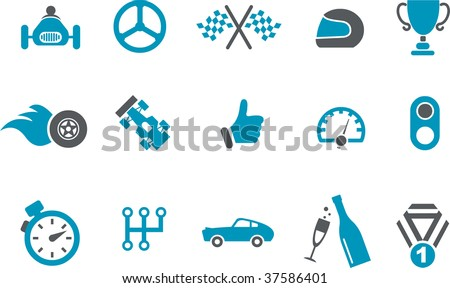Vector icons pack - Blue Series, racing collection - stock vector