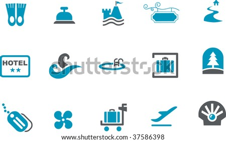 Vector icons pack - Blue Series, sea collection - stock vector