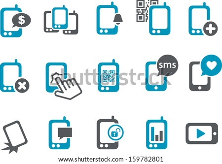 Vector icons pack - Blue Series, smartphone collection  - stock vector