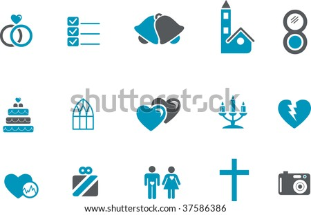 Vector icons pack - Blue Series, wedding collection - stock vector