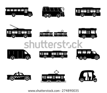 Vector icons. Public transport. - stock vector