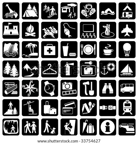 vector icons set at the travel theme - stock vector
