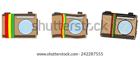 Vector icons set -  Brown painted camera with the flag of Ethiopia. Isolated on white background - stock vector