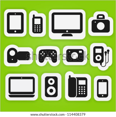 Vector icons set different multimedia digital devices. - stock vector