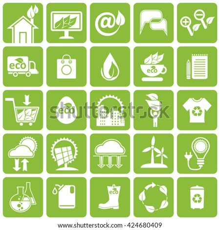 Vector icons set. Ecology, alternative energy sources, science and market. - stock vector