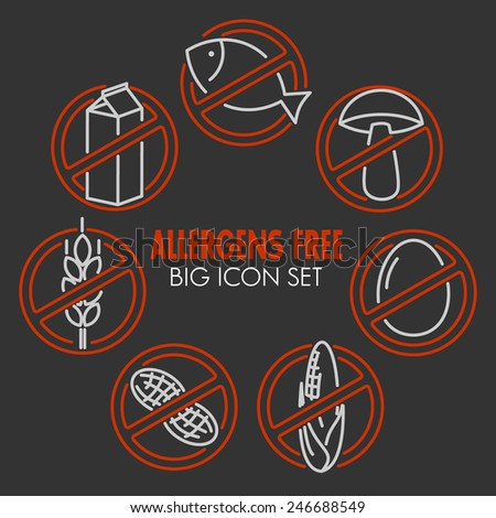 Vector icons set for allergens free products (milk, fish, egg, gluten, wheat, nut, lactose, corn, mushroom) on dark background - stock vector