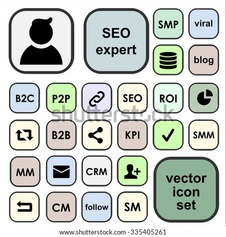 Vector icons set for SEO terms, abbreviations, definitions. SEO expert profile - stock vector