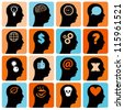 Vector Icons set head think silhouette vector - stock photo