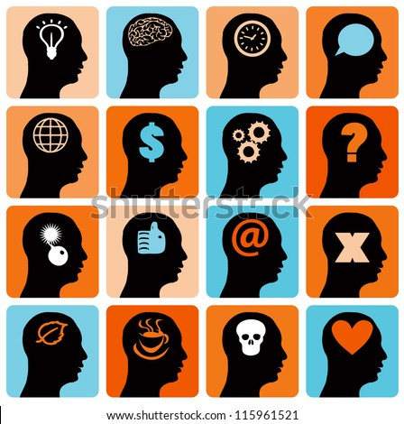 Vector Icons set head think silhouette vector - stock vector