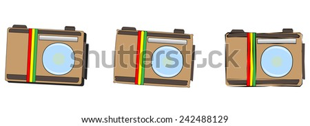 Vector icons set -  Logo brown painted camera with the flag of Ethiopia. Isolated on white background - stock vector