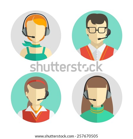 Vector icons set  Male and female call center avatars in a flat style with a headset, conceptual of communication.   - stock vector
