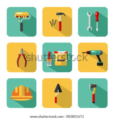 Vector icons set of construction tools: hammer and nails, screwdriver, wrench, pliers, paint roller, paint bucket, brush, ax, drill, spatula, helmet. Vector flat style illustration with shadow. - stock vector