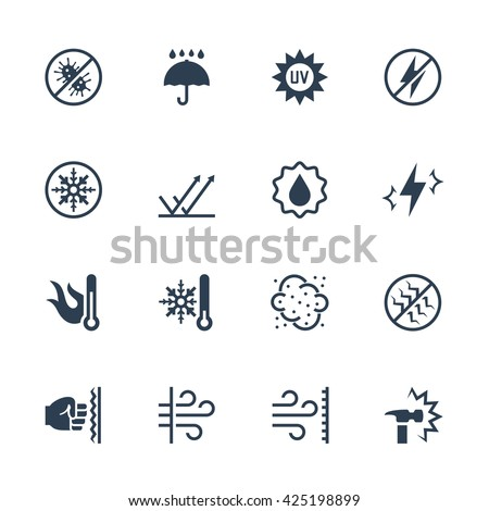 Vector icons set of external influence and protection from it. Antibacterial, water, heat, cold, dust, impact and scratch resistance, UV rays, shockproof , windproof, antistatic and etc. - stock vector