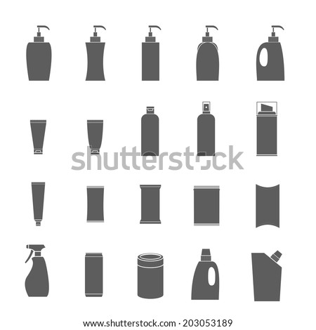 Vector Icons set packaging many products in isolated background - stock vector