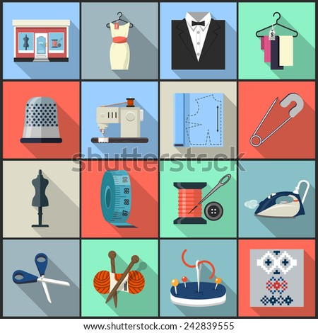 Vector Icons Sewing and Fashion - stock vector