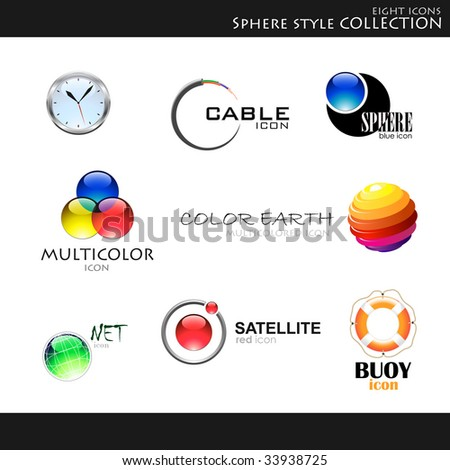 Vector. Icons. Sphere style collection - stock vector
