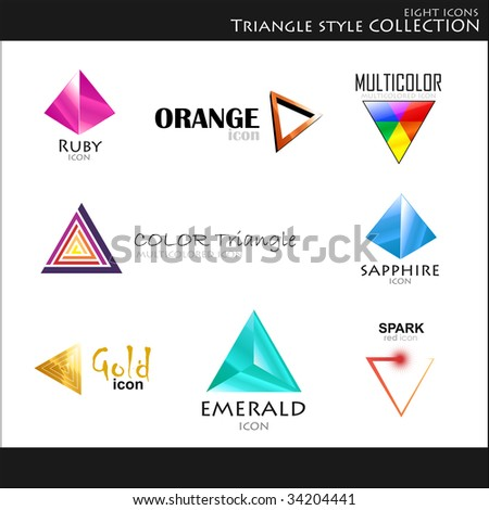 Vector. Icons. Triangle style collection - stock vector