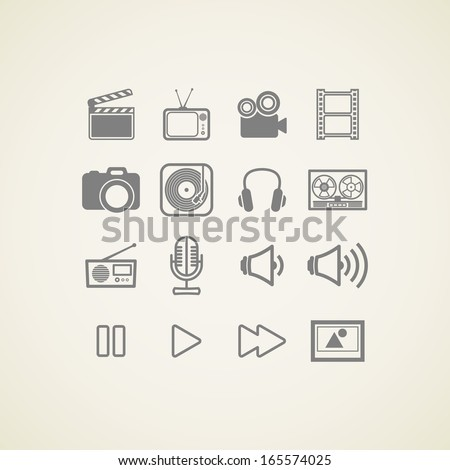 vector icons with creative industry items - stock vector