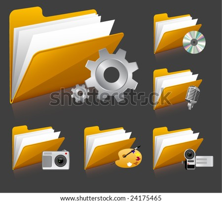 vector icons with folder - stock vector