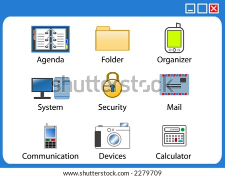Vector icons with technology devices and security theme.
