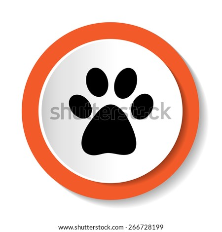 Vector icons with the image of an animal paw - stock vector