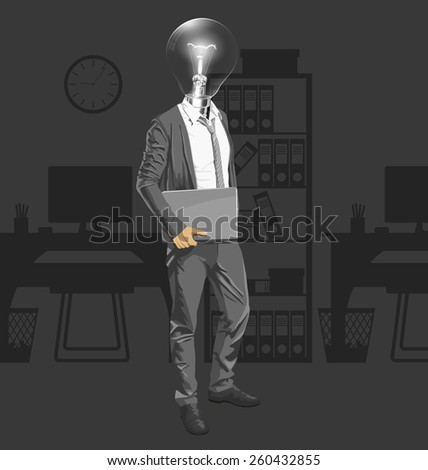 Vector Idea and concept. Lamp head business man with laptop in his hands - stock vector