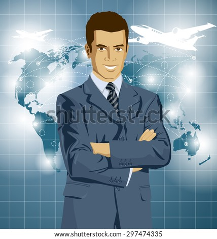 Vector Idea and travel concept. Business man with laptop in his hands. All layers well organized and easy to edit - stock vector