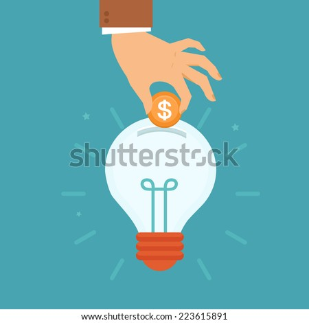 Vector idea attracting money concept in flat style - man's hand putting golden coin inside the light bulb - investment and innovation - stock vector