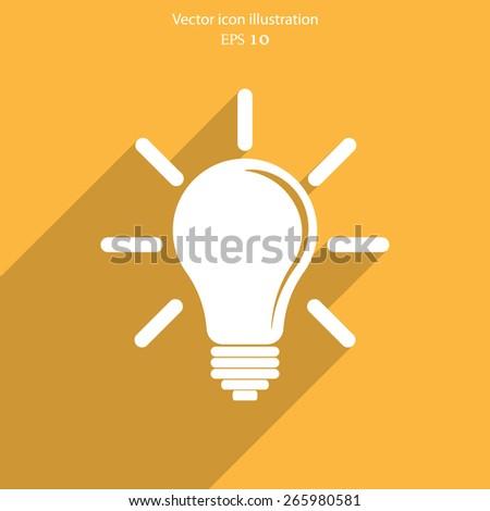Vector idea bulb flat icon illustration - stock vector