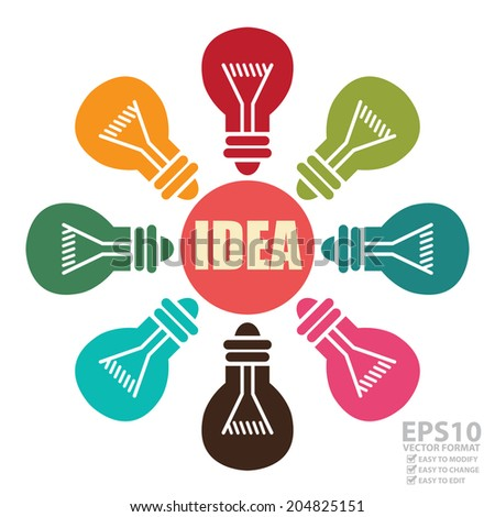 Vector : Idea Icon With Colorful Light Bulb Around Isolated on White Background - stock vector