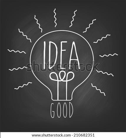 Vector idea triangle card concept by bulb shape. Vector chalkboard lamp icon - stock vector