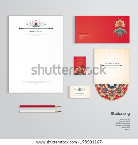 Vector identity templates letterhead envelope business stock vector identity templates letterhead envelope business card tag disc with packaging reheart Choice Image