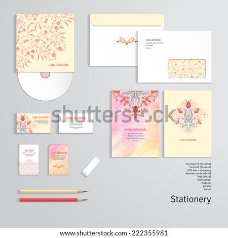 Vector identity templates letterhead envelope business stock vector vector identity templates letterhead envelope business card tag disc with packaging wajeb Images
