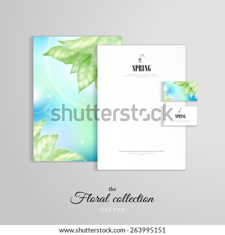 Vector identity templates. Letterhead, folder for documents, business cards. Blurred lights on blue background. Delicate leaves. Spring collection. - stock vector