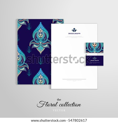 Vector identity templates letterhead folder documents stock vector letterhead folder for documents business cards damask oriental pattern colourmoves