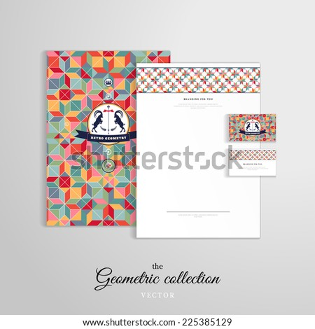Vector identity templates with a geometric pattern. Letterhead, folder for documents, business cards. Multicolored figures and grid. Beautiful round label with two goats and ribbon.  - stock vector