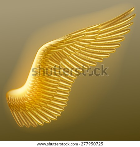 Vector illuminated gold wing of a bird with detailed feathers. Vector illustration - stock vector